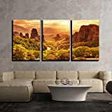 "wall26 - 3 Piece Canvas Wall Art - Meteora Monasteries in Greece. - Modern Home Decor Stretched and Framed Ready to Hang - 24""x36""x3 Panels"