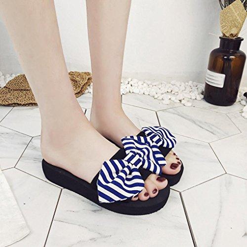 Bleu Femmes Bow ExtéRieur Chaussures Ete Tongs Pantoufles Flops Beautyjourney IntéRieur Boheme De Les Sandales Mariage Plage Sandales Sandales Flip Plumes Sandales wxzffScR0q