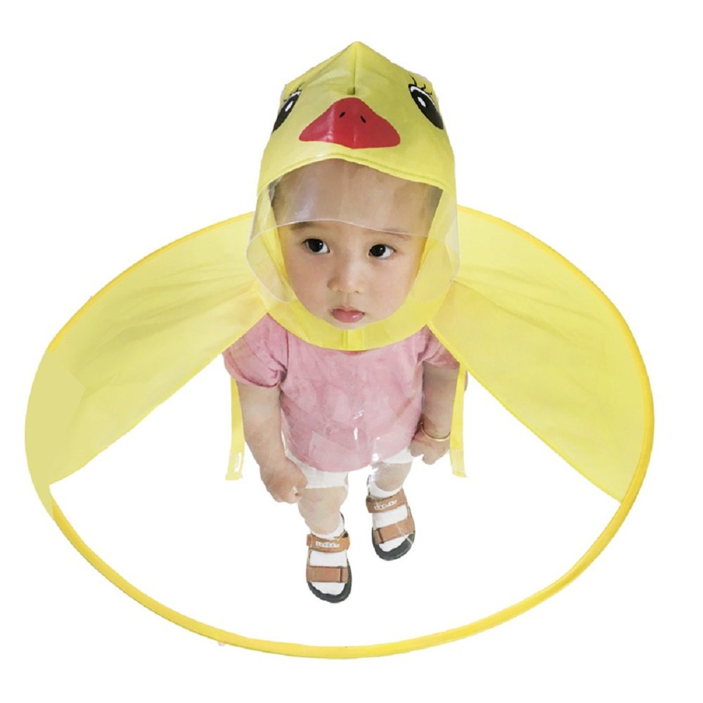 Zejoy Cartoon Yellow Duck Raincoat for Kids Cloak Umbrella with Storage Bag