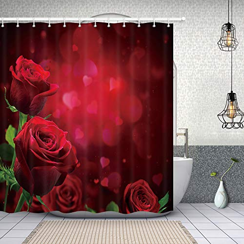 NYMB Flower Decor, Roses for Lover in Valentine Day Shower Curtains, Polyester Fabric Waterproof Red Rose Flowers with Leaves Leaves Bath Curtain, 69X70ines, Shower Curtain Hooks Included, Red (Valentines Roses Red)