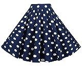 BI.TENCON Women's High Waisted Blue White Polka Dot A-line Vintage Midi Skirt with Pockets L