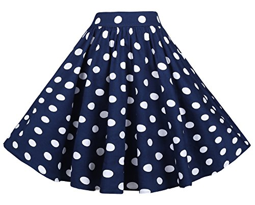BI.TENCON Women's High Waisted Blue White Polka Dot A-line Vintage Midi Skirt with Pockets -