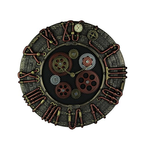 Resin Wall Clocks Steampunk Electricity Conduit Piping Wall Clock 13.75 X 13.75 X 2 Inches Bronze