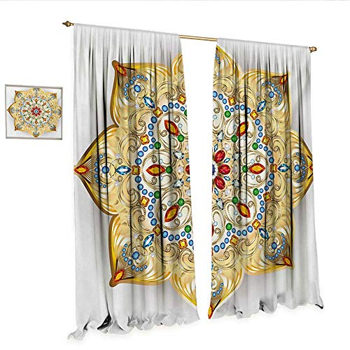 Mandala Patterned Drape for Glass Door Brooch Inspired Design Mandala Geometric Vintage Design Lively Figure Digital Print Window Curtain Fabric W84 x L96 Multicolor.jpg