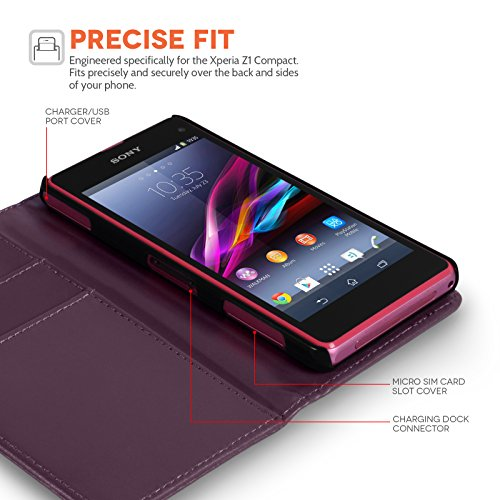 Yousave Accessories Sony Xperia Z1 Compact Case Purple PU Leather Wallet Cover