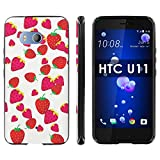 "HTC U11 TPU Silicone Phone Case [Mobiflare] [Black] Ultraflex Thin Gel Phone Cover - [Strawberries] for HTC U11 [5.5"" Screen]"