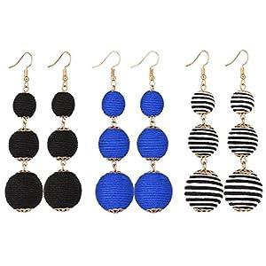 VK Accessories Thread Ball Dangle Earrings Thread Dangle Earrings Soriee Drop Earrings Beaded Ball Ear Drop
