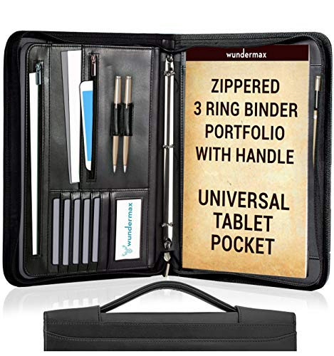 - Wundermax Portfolio Binder A Zippered Padfolio with Handle & 3 Ring Binder Document Organizer Briefcase Professional PU Leather Folder Resume Holder for Work with Notebook and 10.1 Inch Tablet Sleeve
