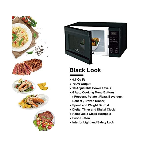 Willz WLCMD207BK-07 Countertop Microwave Oven, 0.7 Cu.Ft/700W Microwave Oven, 6 Cooking Programs LED Lighting Push… 4