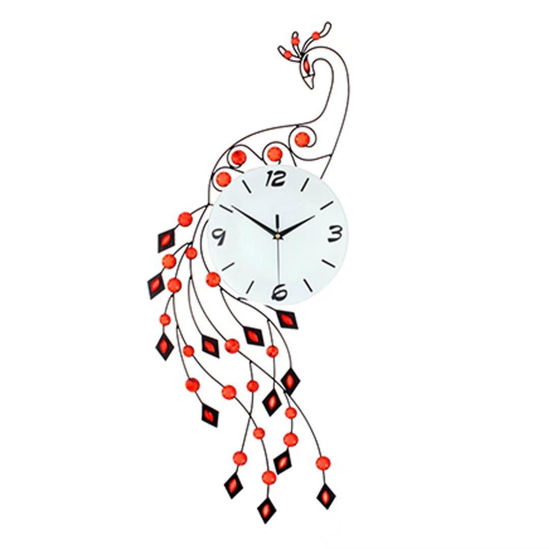 クジャク 孔雀 ファッション アイデア 掛け時計 欧風 現代的な 簡約 時計 チューバ 客間 寝室 クォーツ 石英時計 レッド EBODONG B07CC9GQZVレッド
