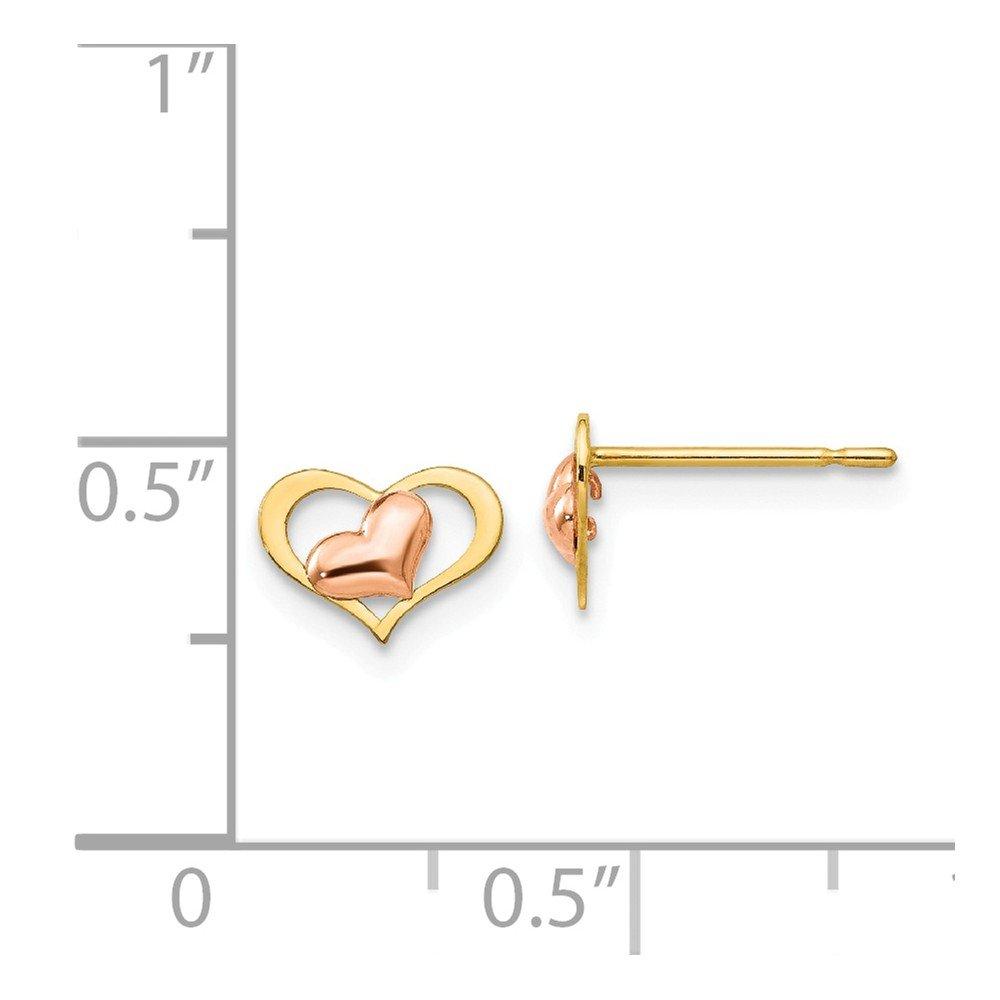 14k Two-tone Yellow /& Rose Gold Madi K Childrens Heart Post Earrings