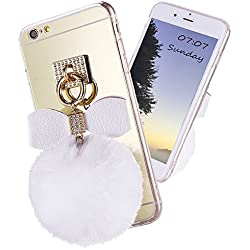 Premium Phone Case with Bownot Plush Fur Ball,Soft TPU Gel Back Case Cover for iPhone 6 Plus/6s Plus 5.5""