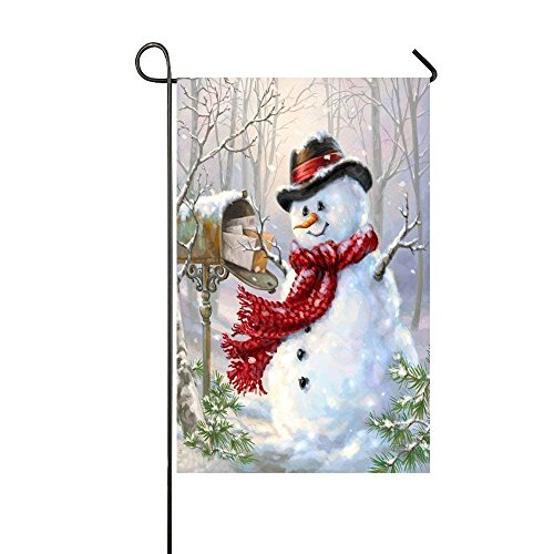 Jay94 Snowman Post The Mail In The Snow Garden Flag - Double