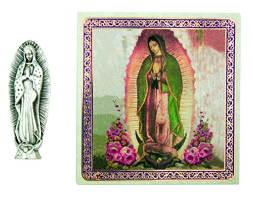 Ambrosiana Our Lady of Guadalupe Saint Virgin Mary 1 1/2 Inch Pocket Statue with Prayer Card