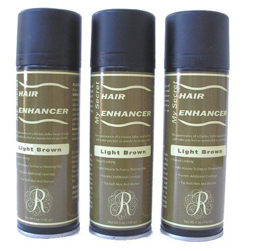 - My Secret Correctives Hair Enhancer Spray for Thin/Thinning Hair -5oz Each - 3 Cans - Light Brown