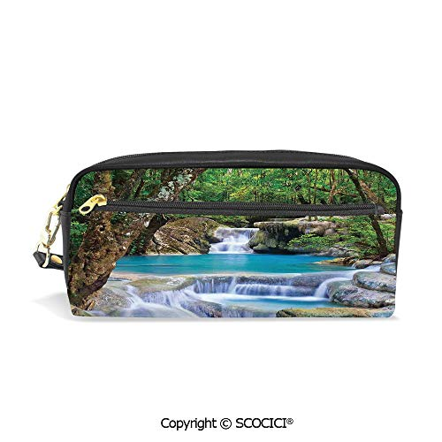 Fasion Pencil Case Big Capacity Pencil Bag Makeup Pen Pouch Fairy Image of Asian Waterfall by The Rocks in Forest Secret Paradise Decorative Durable Students Stationery Pen Holder for School