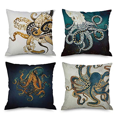 Pack of 4,Ink Painting Marine Octopus Squid Sea Animals Cotton Linen Decorative Throw Pillow Case Personalized Cushion Cover for Sofa Couch Bed Square 18 X 18 Inches (Pack of 4) (Octopus Throw Pillow)