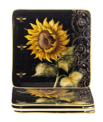 Certified International French Sunflowers Salad/Dessert Plate, 8.25-Inch, Set of 4