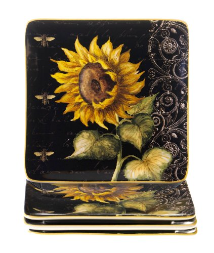 Certified International French Sunflowers Salad/Dessert Plate, 8.25-Inch, Set of (French Dinnerware Salad Plate)