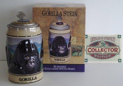 1996 Budweiser Endangered Species Series, Lidded Beer Stein, Gorilla
