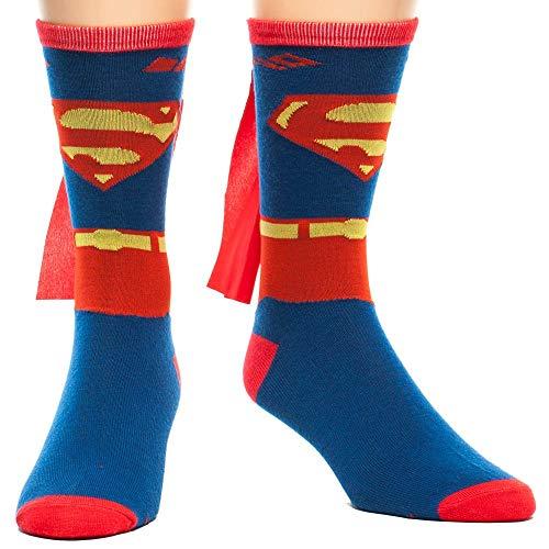DC Comics Men's Superman Costume Crew Sock With Cape, Blue, Sock Size:10-13/Shoe Size: 6-12 from DC Comics