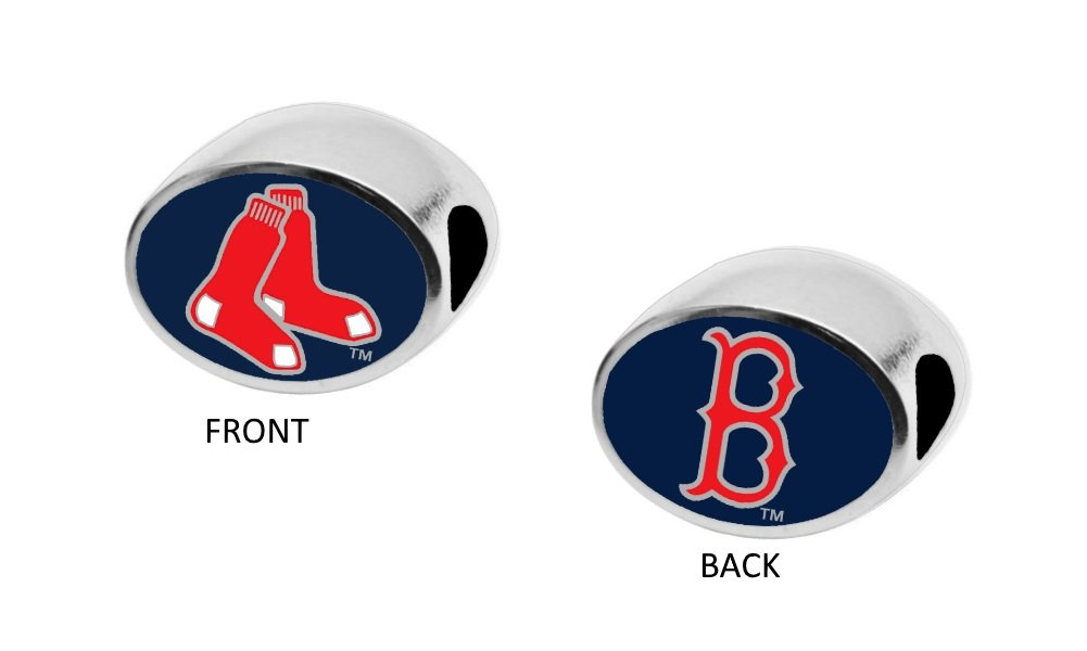Boston Red Sox 2-Sided Bead Fits Most Bracelet Lines Including Pandora, Chamilia, Troll, Biagi, Zable, Kera, Personality, Reflections, Silverado and More Charm Bead Fits Pandora Style Bracelet