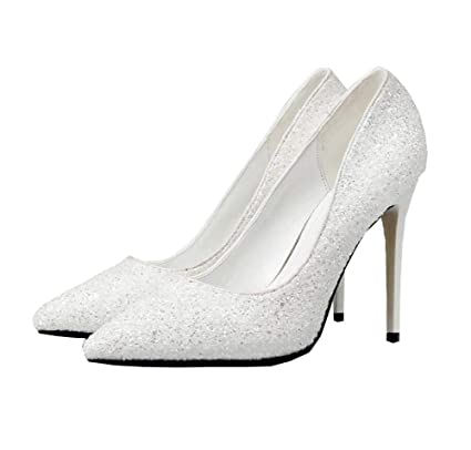 Mamrar Women Pump Sequin High Heels Wedding Dress Shoes Pointed Toe 10Cm  Stiletto Party Shoes OL b06533b7f25