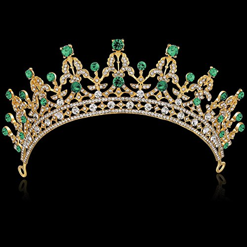 BABEYOND Crystal Queen Tiara Crown Rhinestones Pageant Quinceanera Crown Prom Princess Tiara Crown Bridal Wedding Crown Tiara Headband (Green)