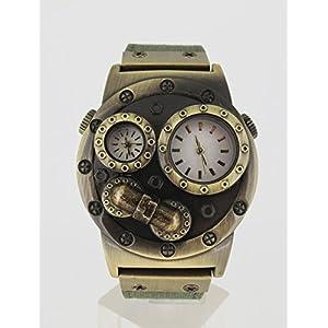 Verne Voyage Dual time Japan Brass Antiqua Steampunk Travel Watch