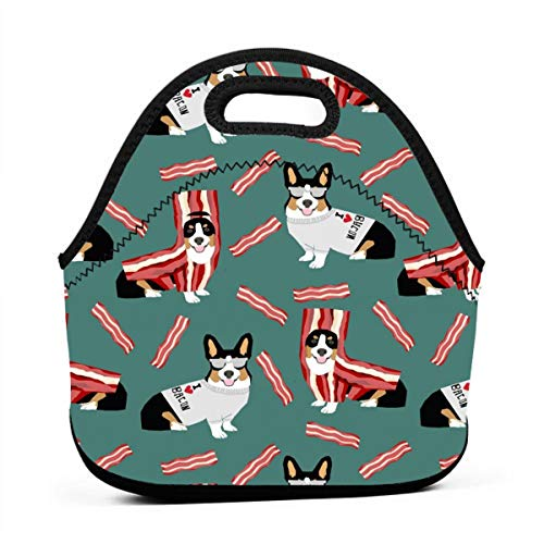 Colored Corgi Fabric Corgis Love Bacon Fabric Design Cute Dog Costume Halloween Neoprene Lunch Bag with Cutlery Case for Thermal Thick Lunch Tote Bag for Adults,Kids -