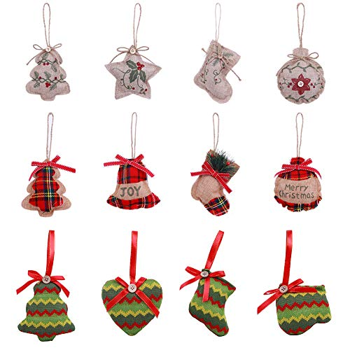 Christmas Tree Ornaments, 12 pcs Value Pack – Hanging Fabric Stocking Decorations, Gift Tags, Holiday Party Decor – Safe & Shatterproof