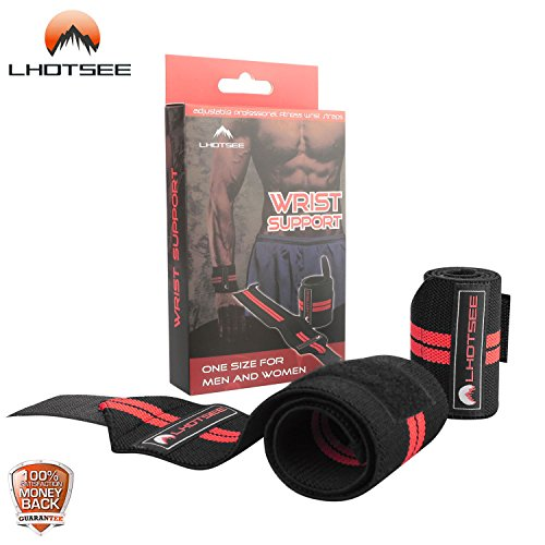 LHOTSEE Premium Wrist Straps,Professional Weight Lifting Training Wrist Straps Support Braces Wraps For Men and Women (Red) by LHOTSEE (Image #3)