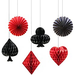 Sopeace Pack of 6 Tissue Paper Pom Poms Casino Las Vegas Party Honeycomb Playing Hanging Decorations Backdrop for Wedding Party Decoration Birthday Kids Bridal Baby Shower(Spade Heart Club Diamond)