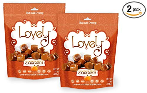 PUMPKIN SPICE Caramels (2-Pack)- Lovely Co. 6 oz. Bag - Holiday Seasonal Flavor | Soft & Chewy, Old Fashioned Style, Authentic Caramel Candies - Non-GMO, Soy & HFCS- Free, Gluten-Free & Kosher!
