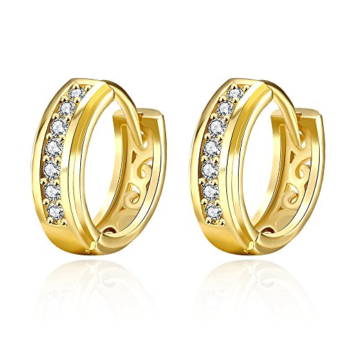 14K Gold Cubic Zirconia Small Hoop Earrings for Women Girls Fashion Huggie Hoops Hypoallergenic 15mm