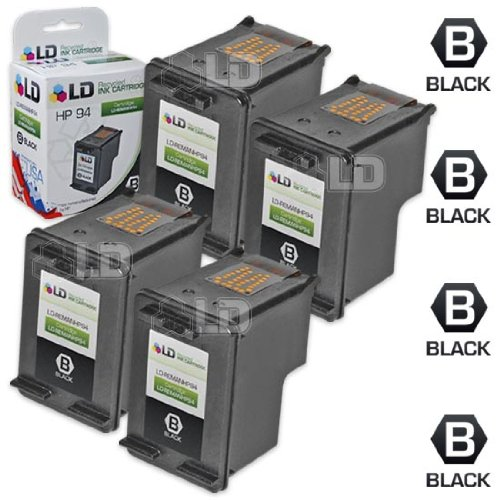 LD © Remanufactured Replacement Ink Cartridge for Hewlett Packard C8765WN (HP 94) Black (4 pack)