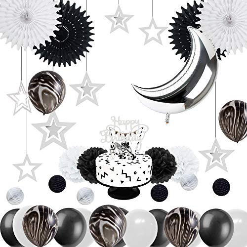 Monochrome Safari 1st Birthday Party Decoration Black White Marble Balloons Silver Moon Balloon Space Themed Baby Shower Party Supplies Easy Joy