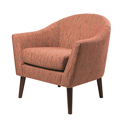 Madison Park FPF18-0221 Grayson Accent Chairs - Hardwood, Birch, Textured Fabric, Flair Curved Arm, Modern Classic Style Living Room Sofa Furniture, Bedroom Lounger, Red