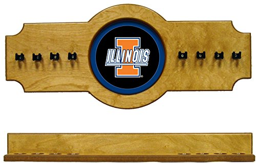NCAA Illinois Fighting Illini ILLCRR200-O 2 pc Hanging Wall Pool Cue Stick Holder Rack - Oak