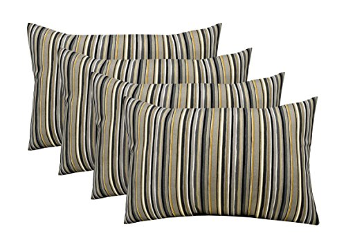 RSH Décor Indoor Outdoor Set of 4 Decorative Rectangular Lumbar Throw Pillows ~ Tan Black Gold Grey/Gray Ivory Stripe (12