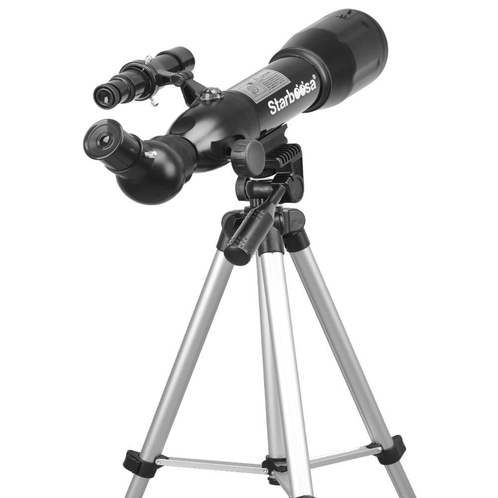 Starboosa Telescope Travel Scope for Kids Beginners 50mm Aperture 360mm with Tripod Eyepiece Finder 3X balow Lens and a Smartphone Eyepiece Adapter