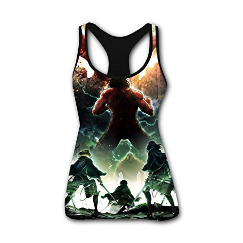 Diol-T4T Tank Tops Attack Cartoon Ti-tan Womens Sleeveless Blouse Casual Slim Fitted Shirt Cami Shirts
