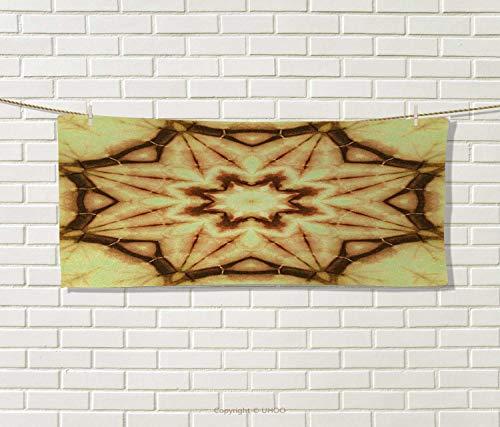 Anniutwo Mandala,Sports Ttowel,Trippy Ethnic Thai Mandala Motif Dirty Grunge Smear Rough Stains Art,Absorbent Towel,Mustard Brown Size: W 12'' x L 35.5'' by Anniutwo