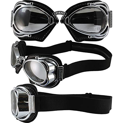 Nannini Hot Rod Foldable Biker Goggles Clear Lenses