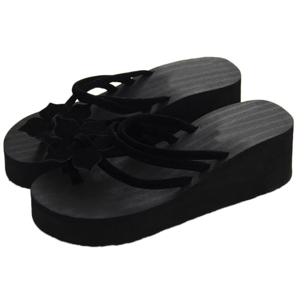 Qisc Women's Summer Beach Leisure Flower Non-Slip Flip Flops Wedge Sandals Thong Shoes High Heels Slippers (US Size: 7, Black)