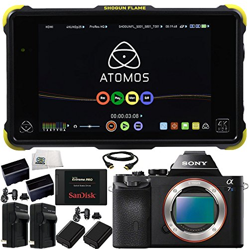 "Atomos Shogun Flame 4K HDMI/12G-SDI Recorder and 7"" Monitor + Sony Alpha a7S Mirrorless Digital Camera 13PC Accessory Kit. Includes SanDisk 480GB Extreme Pro Solid State Drive + More from SSE"