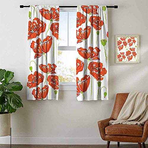 (Mozenou Anemone Flower, Curtains Blackout 2 Panels, Doodle Style Poppy Anemone Field in Full Blossom May Flowers, Curtains Kitchen, W96 x L72 Inch Scarlet Lime Green Black)