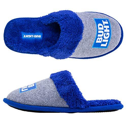 Anheuser-Busch Budweiser Mens Slippers - Officially Licensed Budweiser Beer Slippers (Bud Light Blue, Medium - Fits Shoe Sizes 9-10)