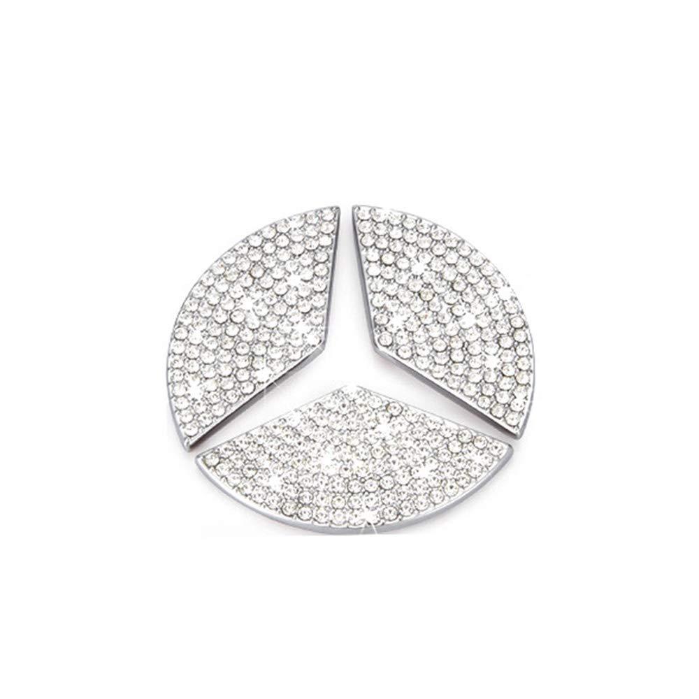 Thor-Ind Steering Wheel Logo Badge Emblem Cover Sticker for/Mercedes-Benz A B C E S CLA CLS GLA GLC GLE GLK GLS Class Diamond Decoration Steering Wheel Logo-49mm