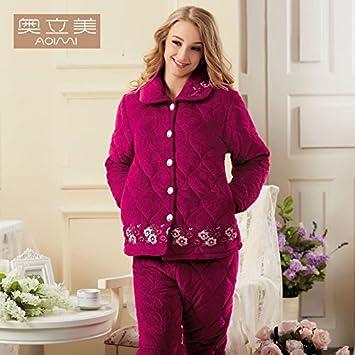 HE Xiaodong @ Navidad regalos cómodo ocio algodón pijama mujer grueso acolchado de tres capas solapas